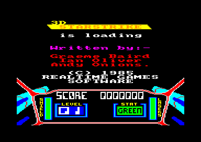 screenshot of the Amstrad CPC game 3D Starstrike
