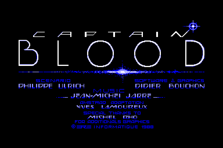 loading screen of the Captain Blood Amstrad CPC game