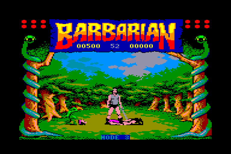 screenshot of Barbarian on Amstrad CPC