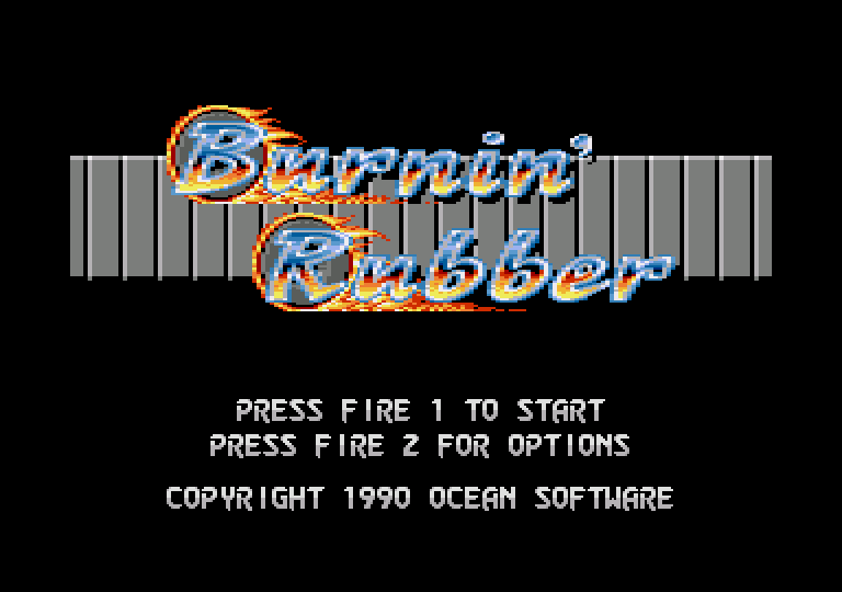screenshot of the Amstrad CPC game Burnin' Rubber