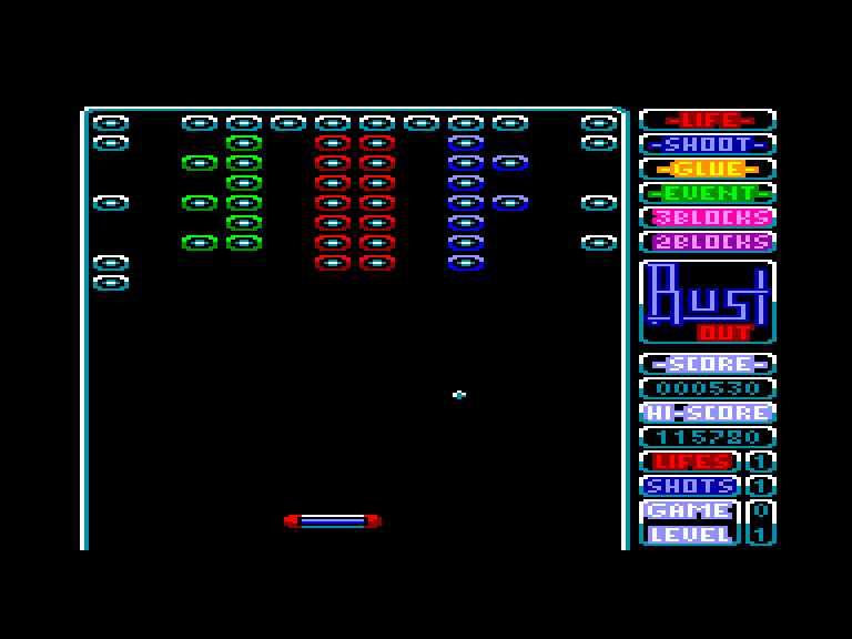 screenshot of the Amstrad CPC game Bustout