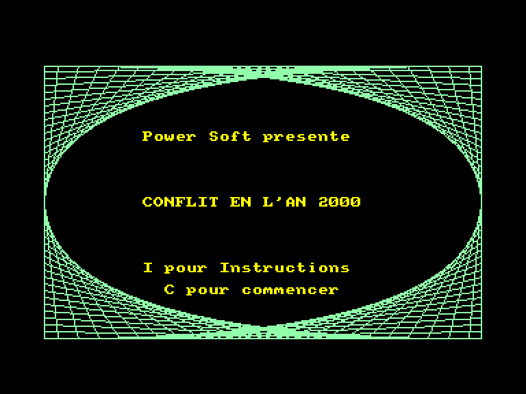screenshot of the Amstrad CPC game Conflit en l'an 2000