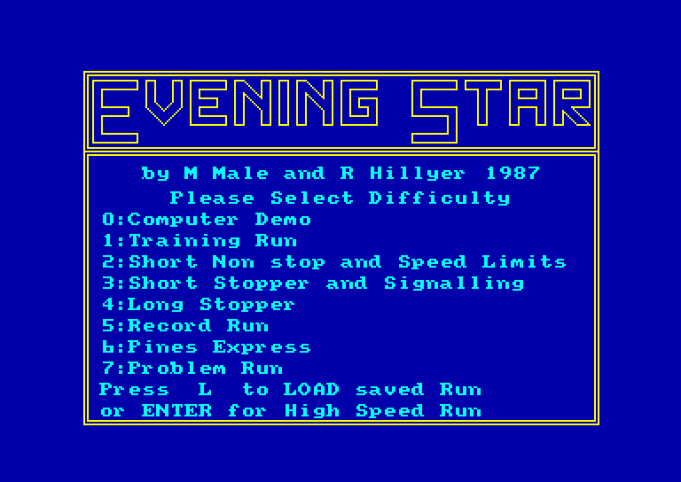 screenshot of the Amstrad CPC game Evening star