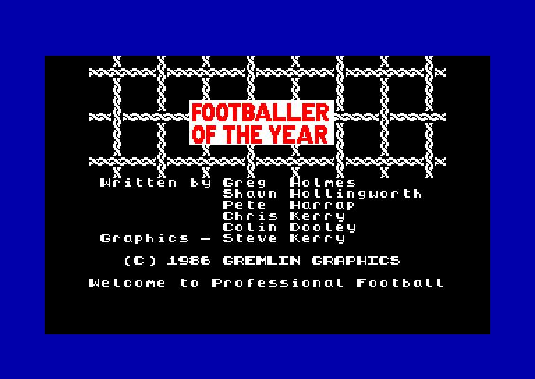 screenshot du jeu Amstrad CPC Footballer of the year