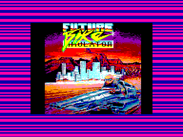 screenshot of the Amstrad CPC game Future bike simulator