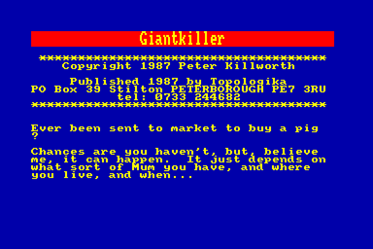 screenshot of the Amstrad CPC game Giant Killer