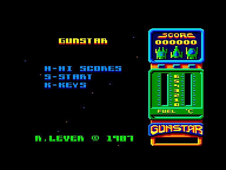 screenshot of the Amstrad CPC game Gunstar