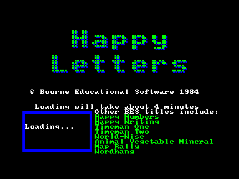 screenshot of the Amstrad CPC game Happy letters