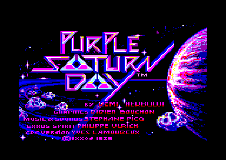 screenshot of the Amstrad CPC game Purple saturn day