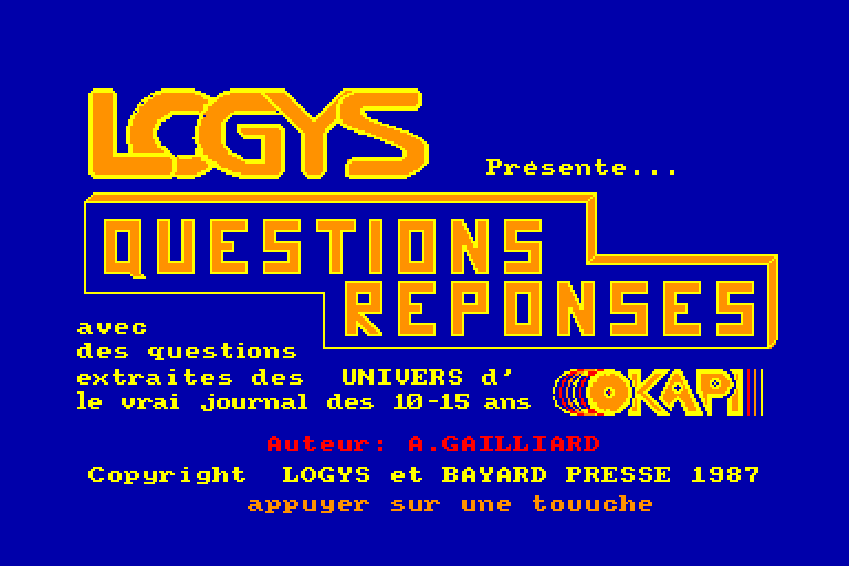screenshot of the Amstrad CPC game Questions - Reponses
