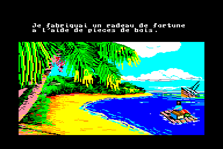 screenshot of the Amstrad CPC game Robinson crusoe