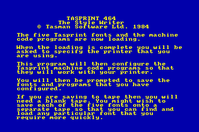 screenshot of the Amstrad CPC game Tasprint 464