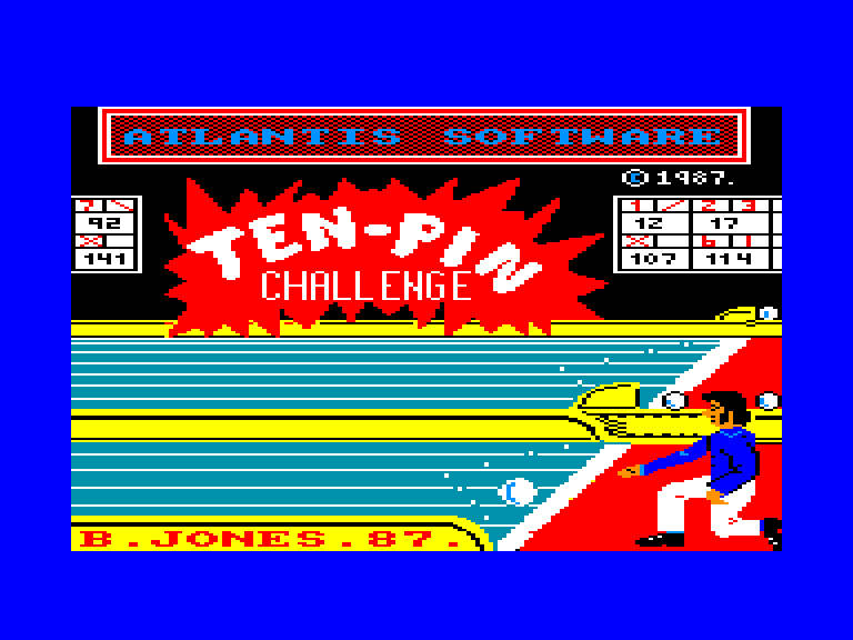 screenshot of the Amstrad CPC game Ten-Pin Challenge