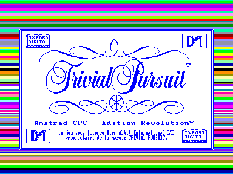 screenshot of the Amstrad CPC game Trivial Pursuit  - Edition Revolution