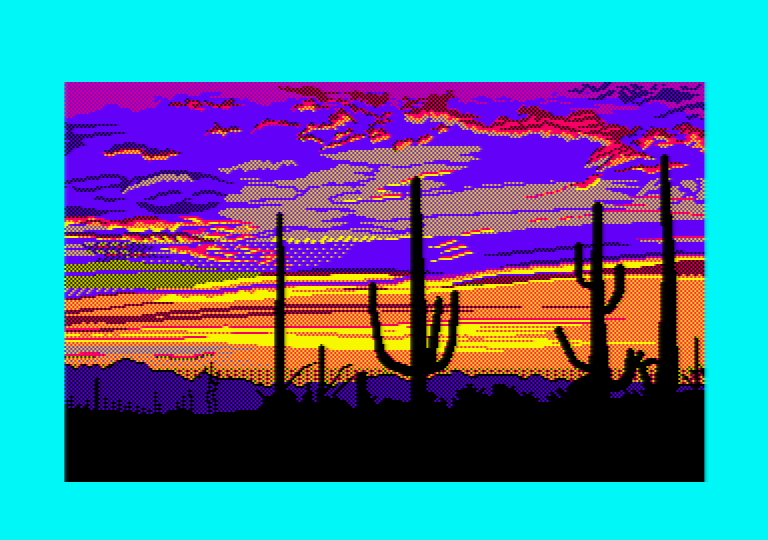 Cacti by Jill Lawson, mode 1 picture on an Amstrad CPC