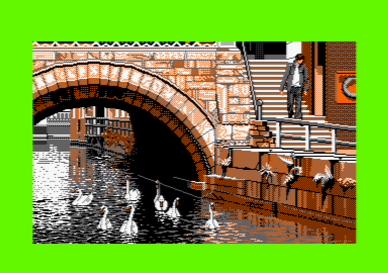 Swans by Jill Lawson, mode 1 picture on an Amstrad CPC