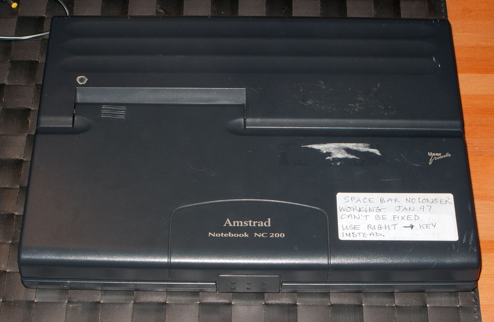 front of an Amstrad Notepad NC200