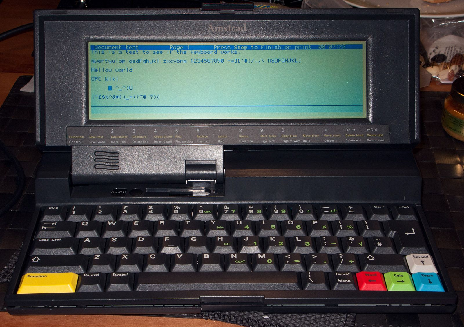 thest of the Amstrad Notepad NC200 keyboard
