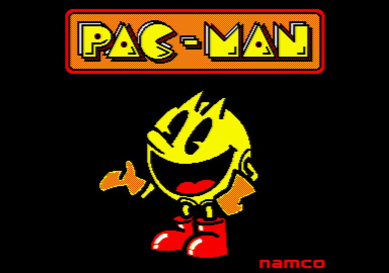 loading screen of the Pac-Man Arcade game on an Amstrad CPC
